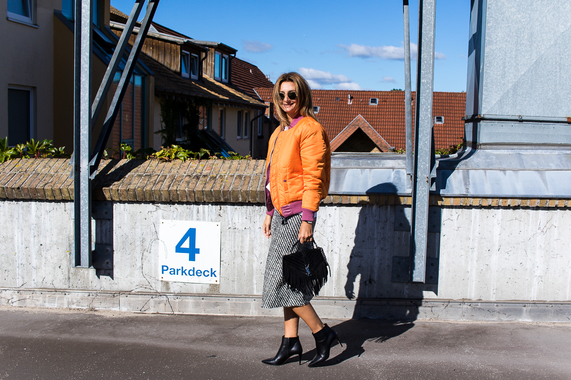 popular street style - orange bomber jacket