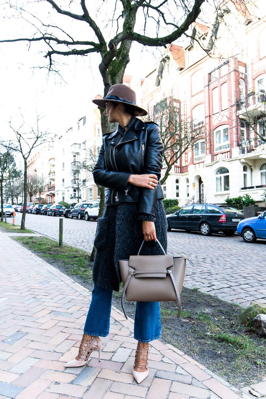 leather biker jacket, hat, aquazzura heels 3