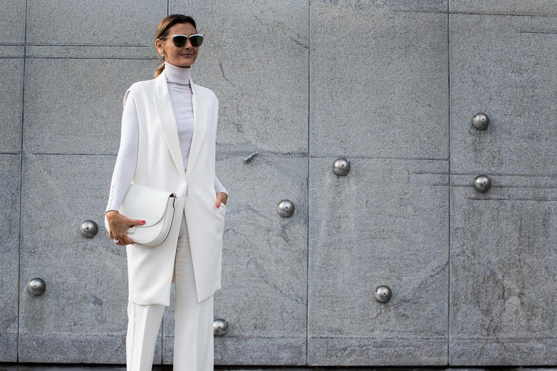 all white look, celine bag, dior earrings