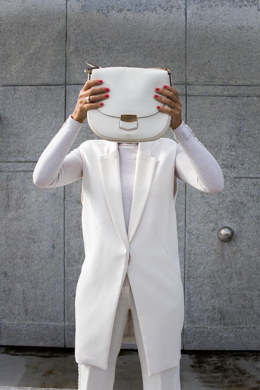 all white look, celine bag