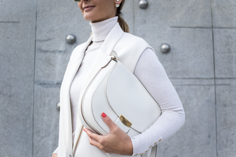 all white look, dior earrings, celine bag