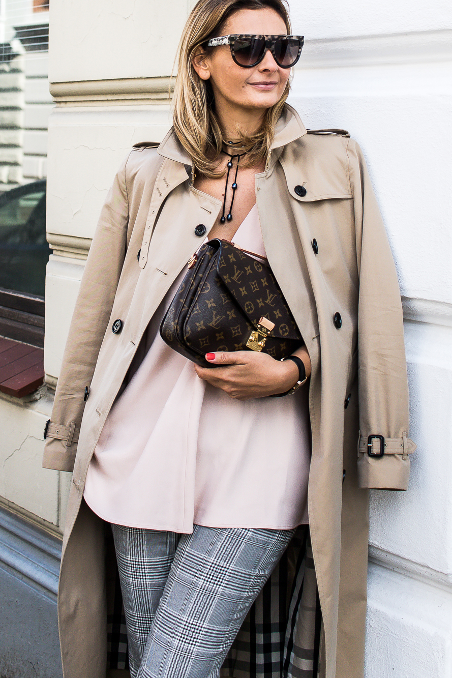 checked pants, burberry trench coat, celine sunglasses, louis vuitton bag 5