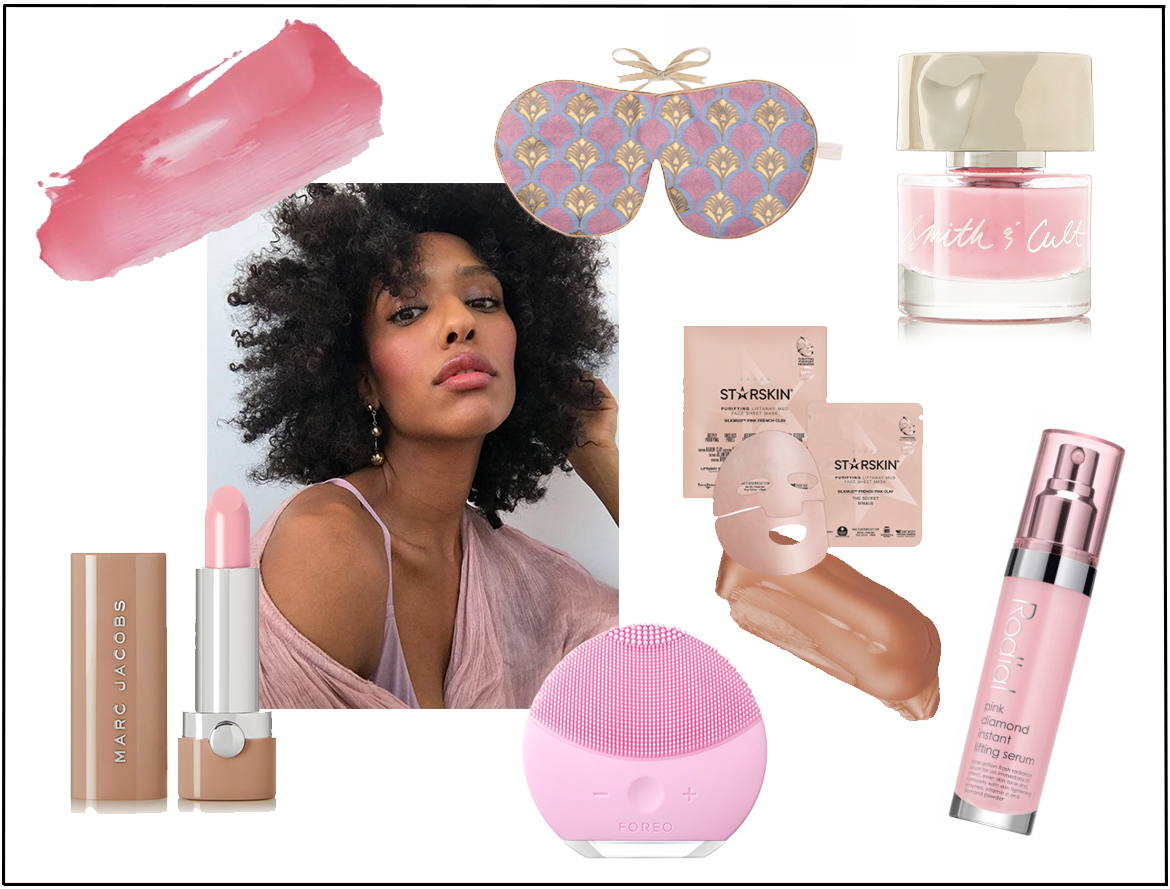 pastel pink beauty products