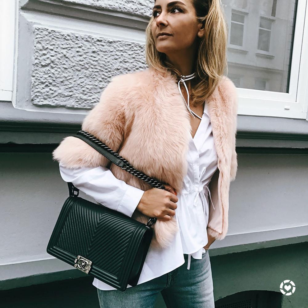 pink fur, fur gilet, chanel boy, chanel bag