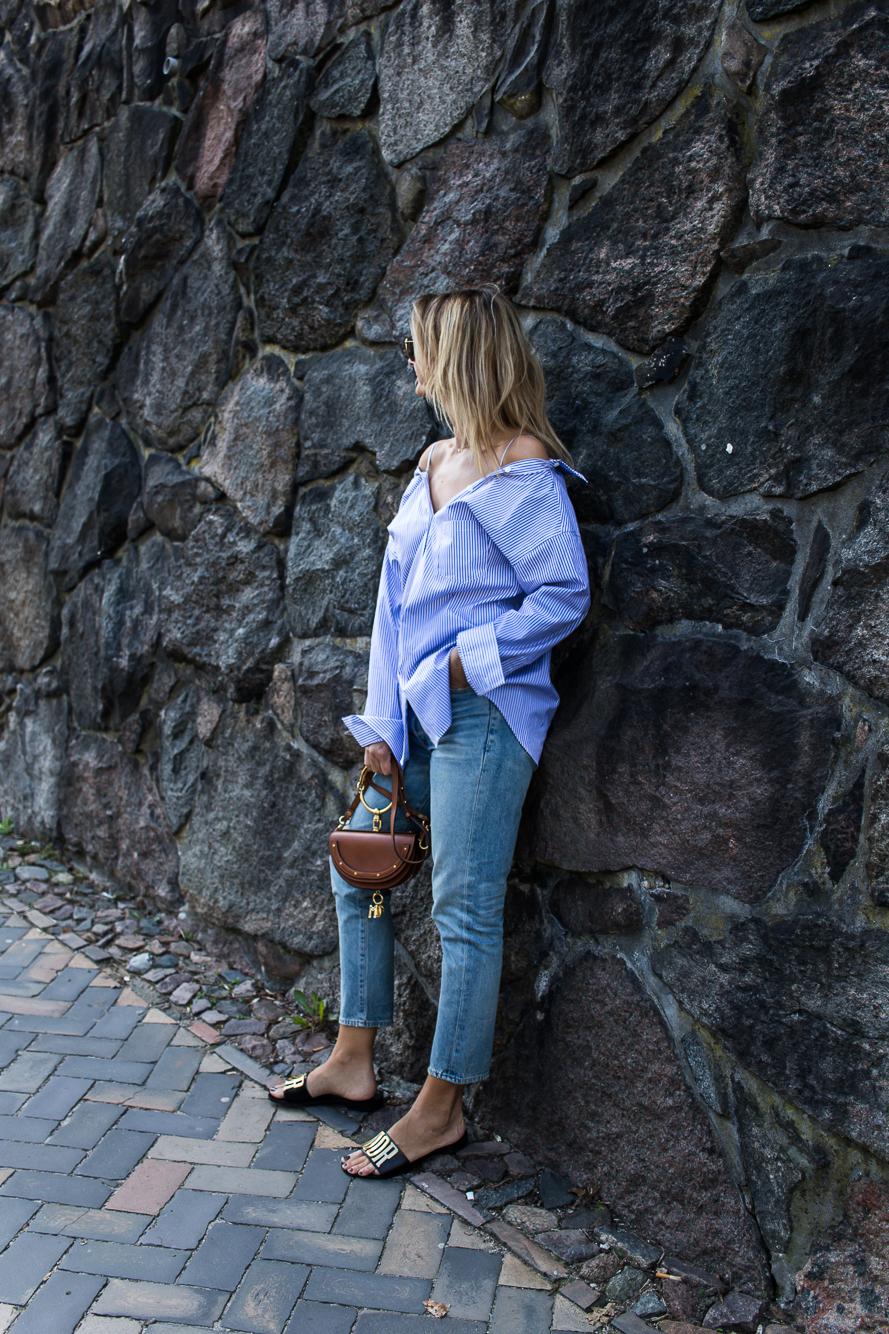 striped shirt, chloe bag, dior slides-0026