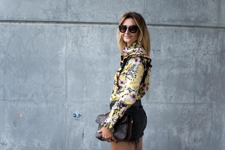 yellow top, LV bag, denim shorts-4048 ruffles