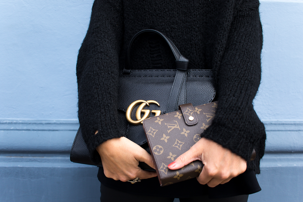 all black look with gucci slippers and bag-8662 after Angelina Jolie