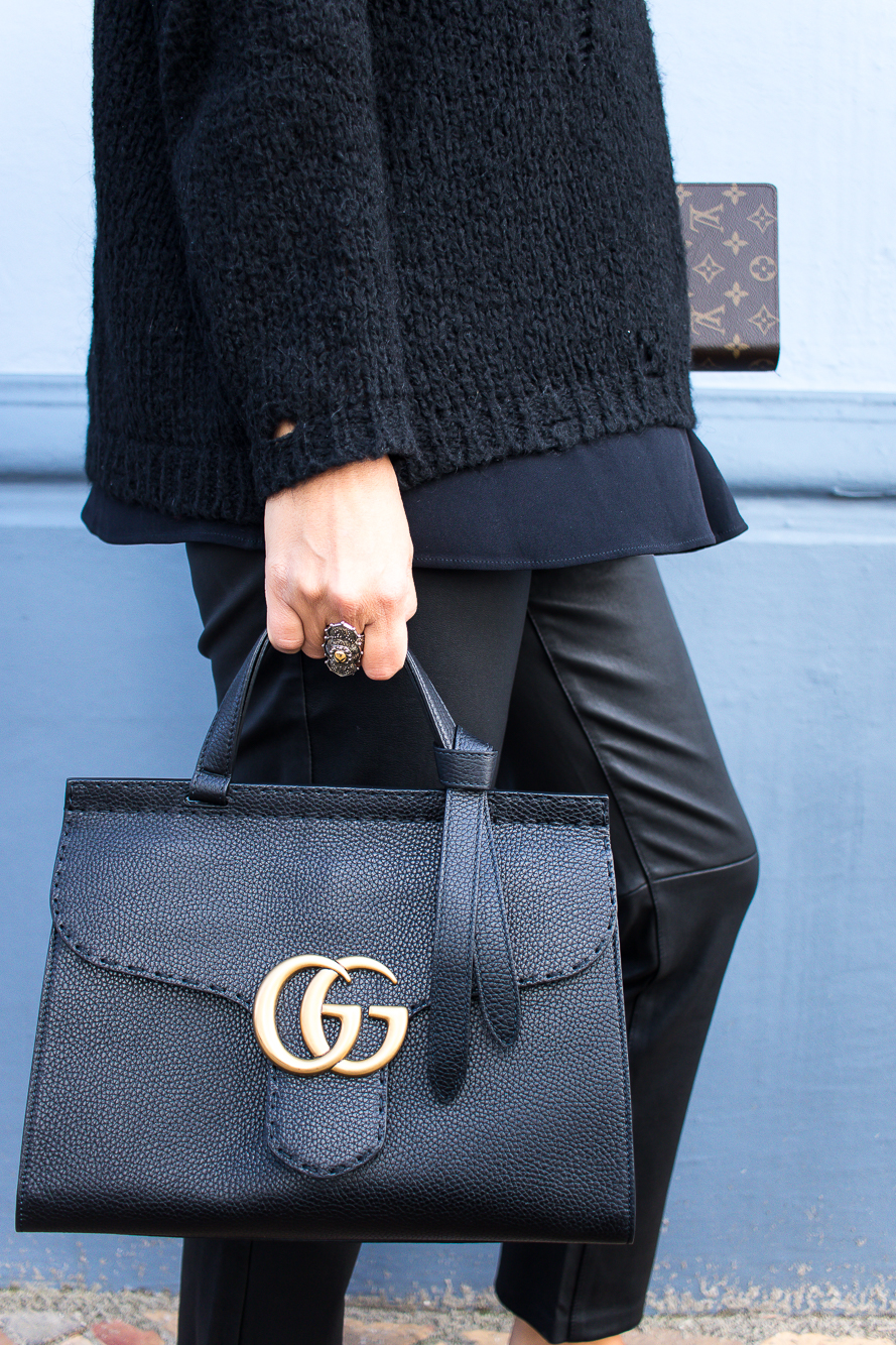 all black look with gucci slippers and bag-8735
