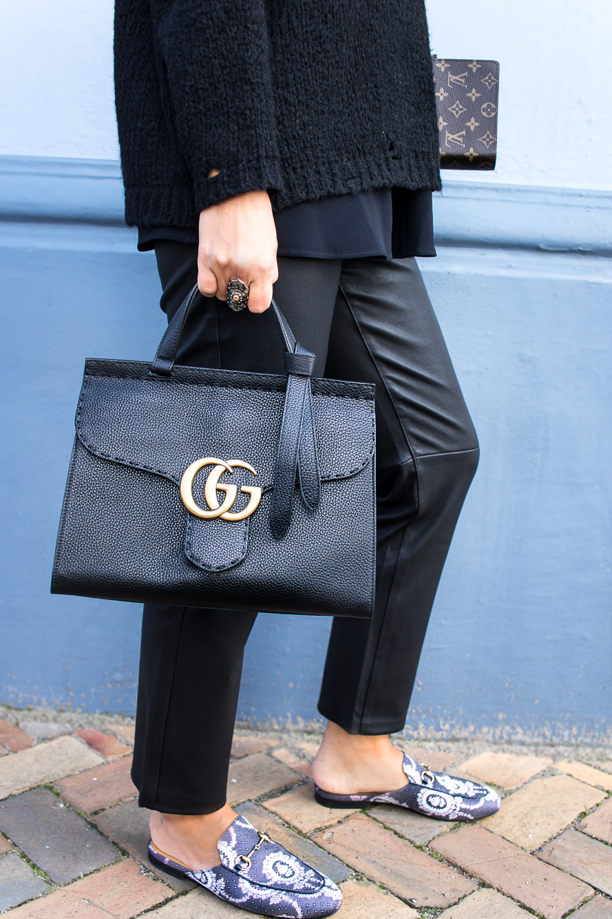all black look with gucci slippers and bag-8737