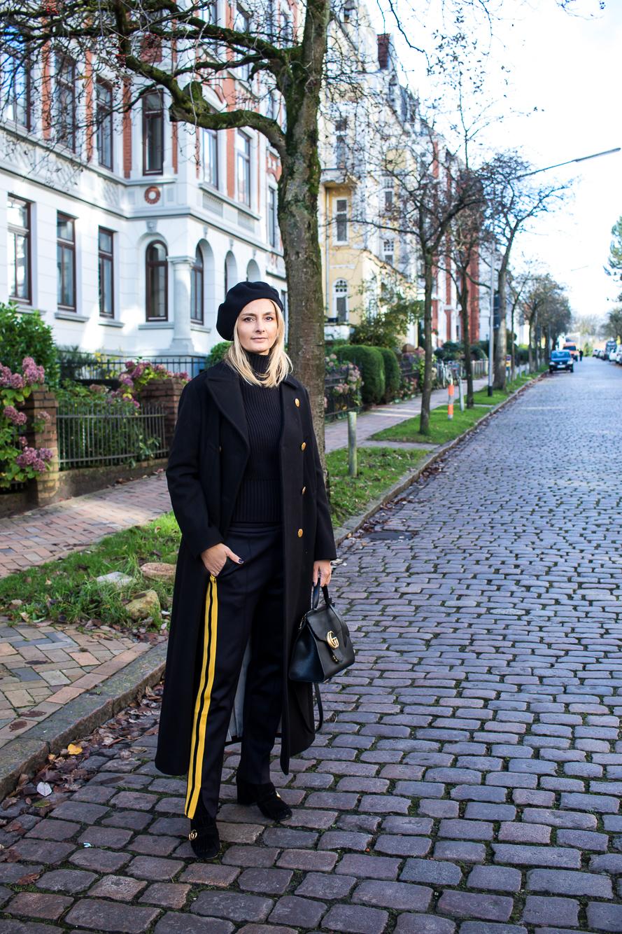 jogging pants, all black, long coat-4864